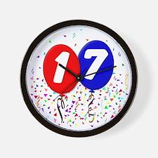 17_bdayballoon Wall Clock