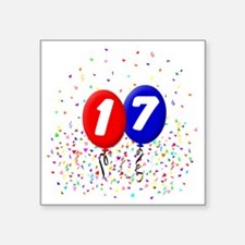 "17_bdayballoonbtn Square Sticker 3"" x 3"""