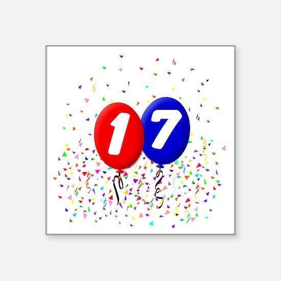 "17_bdayballoonbtn Square Sticker 3"" x 3"""