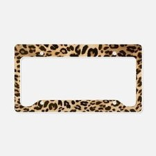 Leopard Gold/Black Print License Plate Holder