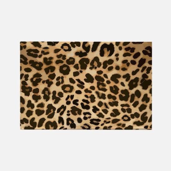 Leopard Gold/Black Print Rectangle Magnet