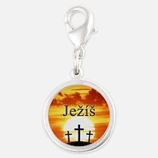 Ježíš Calvary Sunrise Silver Round Charm