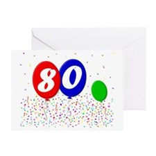 bday80balloon3x4t Greeting Card
