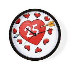 25th Valentine Heart Wall Clock