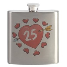 25th Valentine Heart Flask