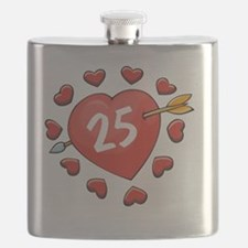 25th Valentine Heart Flask