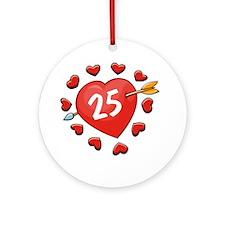 25th Valentine Heart Round Ornament