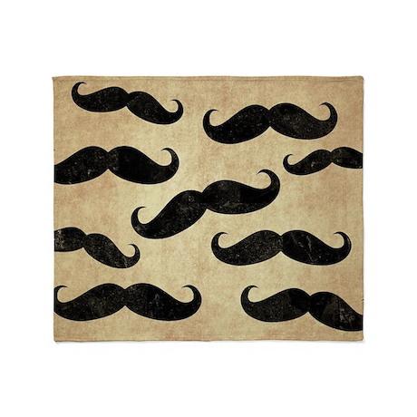 Vintage Mustache Collage Throw Blanket