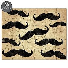 Vintage Mustache Collage Puzzle