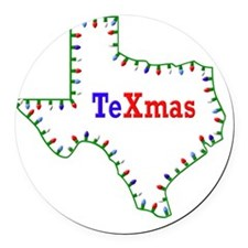 TeXmas Lights Round Car Magnet