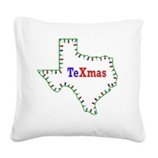 TeXmas Lights Square Canvas Pillow