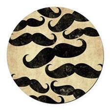 Many Manly Mustaches Round Car Magnet