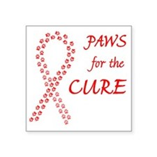 """Red Paws Cure Ribbon Square Sticker 3"""" x 3"""""""
