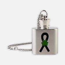 Black Shamrock ribbon Flask Necklace