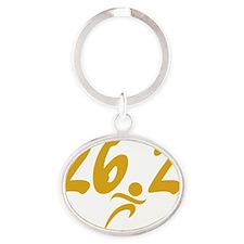 Gold 26.2 marathon Oval Keychain