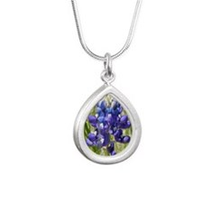 Texas Bluebonnet Silver Teardrop Necklace