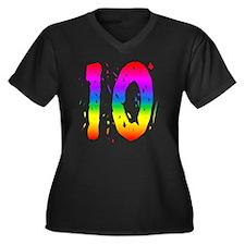 rbwconw10 Women's Plus Size Dark V-Neck T-Shirt