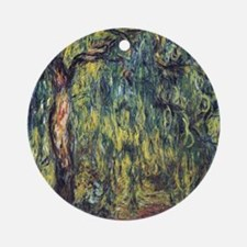 Weeping Willow by Claude Monet Round Ornament