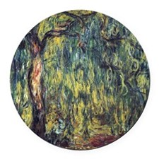 Weeping Willow by Claude Monet Round Car Magnet