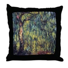 Weeping Willow by Claude Monet Throw Pillow