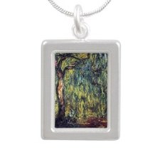 Weeping Willow by Claude Silver Portrait Necklace