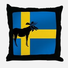 Swedens Elk / Moose Flag Throw Pillow