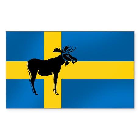 Swedens Elk / Moose Flag Rectangle Sticker