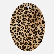 Leopard Wild Cat Print Oval Ornament