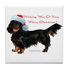 """Dachshund Christmas"" Tile Coaster"