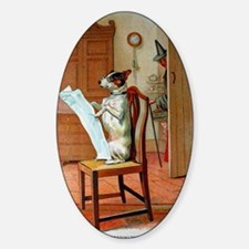 He Was Reading The News, Old Mother Sticker (Oval)