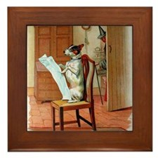 He Was Reading The News, Old Mother Hu Framed Tile