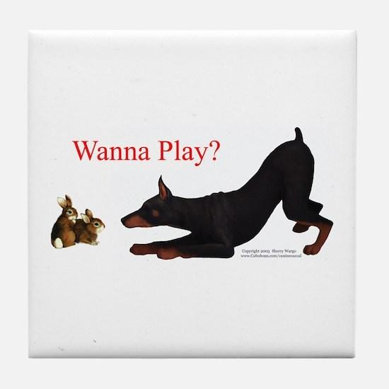 Dobe Wanna Play Tile Coaster