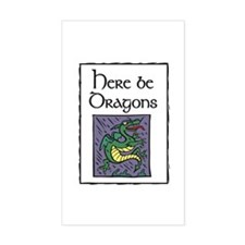 Here be Dragons Rectangle Decal