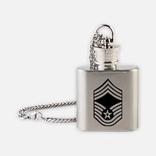 USAFChiefMasterSergeantBlackMeshCap Flask Necklace