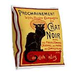 Le Chat Noir 3 Burlap Throw Pillow