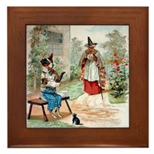 He Was Feeding The Cat,  Old Mother Hu Framed Tile