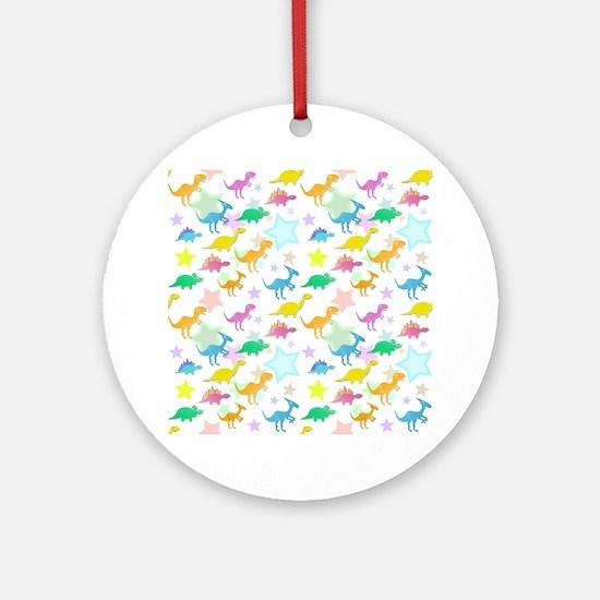 Cute Dinosaurs Pattern Ornament (Round)