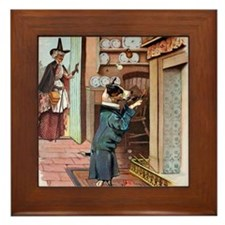 He Was Smoking His Pipe, Old Mother Hu Framed Tile