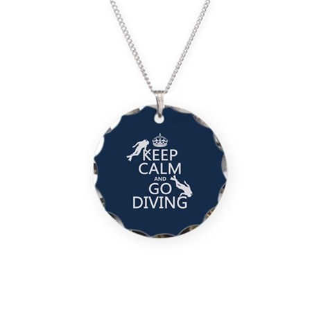 Keep Calm and Go Diving (scuba) Necklace Circle Ch