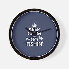 Keep Calm and Go Fishin' Wall Clock