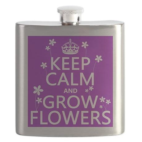 Keep Calm and Grow Flowers Flask