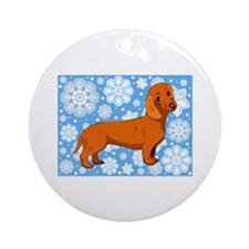 Holiday Dachshund Ornament (Round)