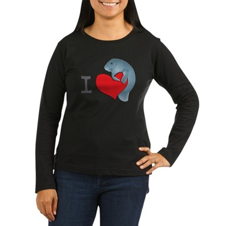 I heart manatees Women's Long Sleeve Dark T-Shirt