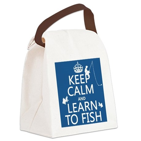 Keep Calm and Learn To Fish Canvas Lunch Bag