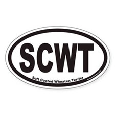 SCWT Soft Coated Wheaten Terrier Euro Oval Decal