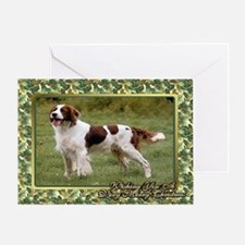 Irish Red White Setter Dog Christmas Greeting Card
