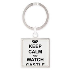 """""""Keep Calm And Watch Castle"""" Square Keychain"""