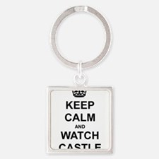 """Keep Calm And Watch Castle"" Square Keychain"