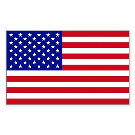 (5 X 3) USA Flag Sticker (Rectangle)