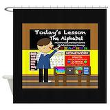 Chalkboard alphabet Shower Curtains